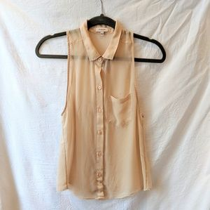 Aritzia Sunday Best Sheer Pink Collar Top Small